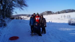 In the snow with my host family.